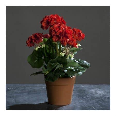 geranium in pot red 28 cm artificial flower