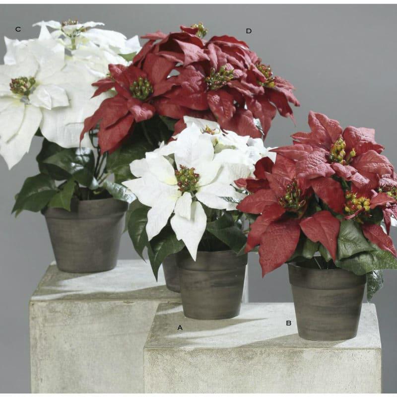 Poinsettia Artificial Plant Red White