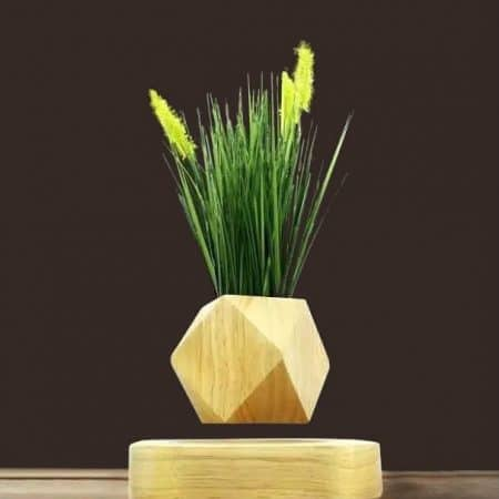 levitating floating plant diamond real wood pot