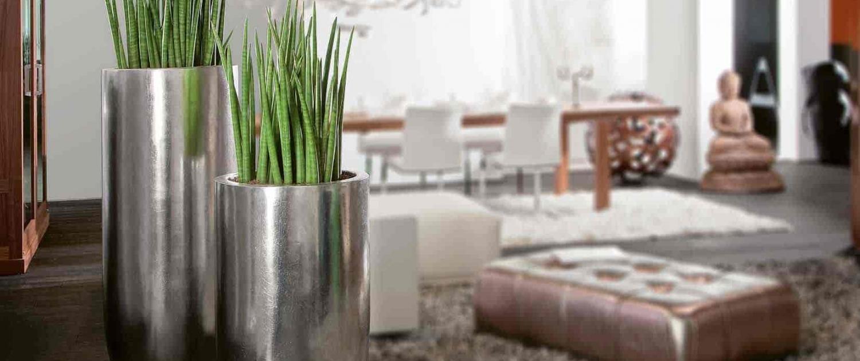 artificial plants in pots silver